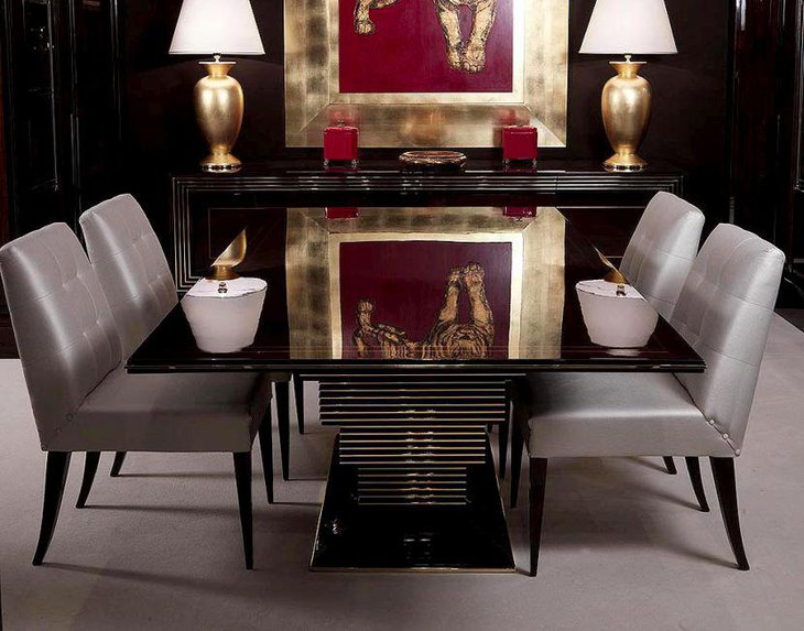 High Gloss Art Deco Dining Table Design