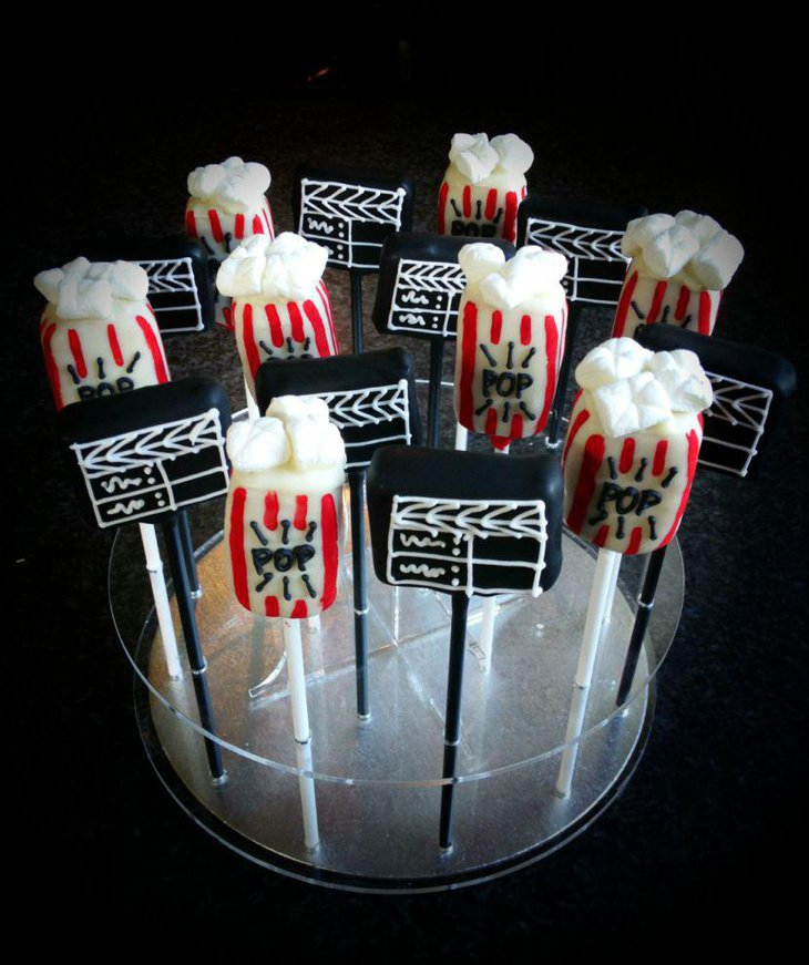 Hollywood themed cake pops for dessert tables