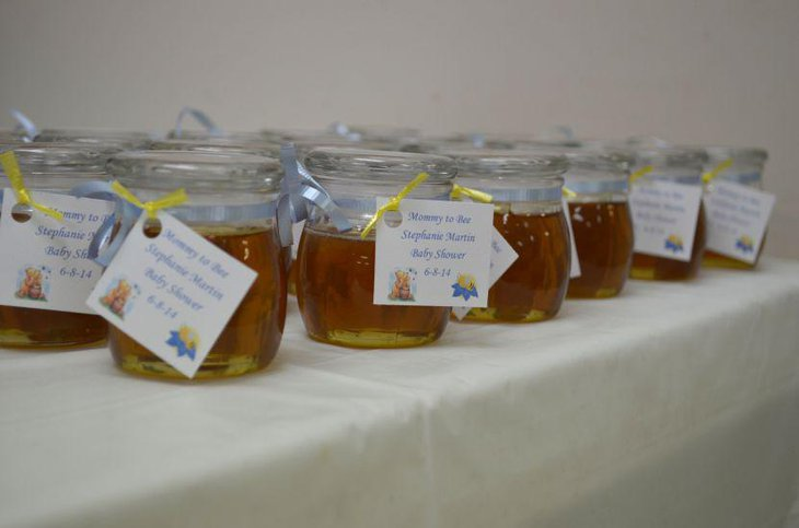 Honey jar favors for Winnie The Pooh baby shower
