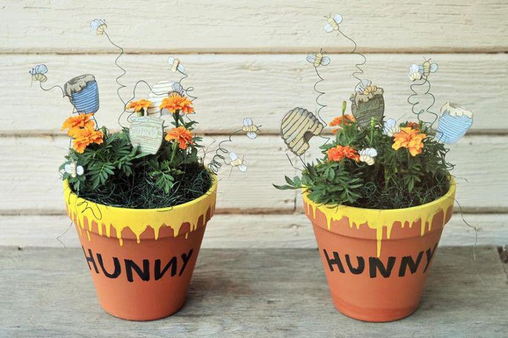 Hunny floral centerpiece idea for Winnie The Pooh baby shower