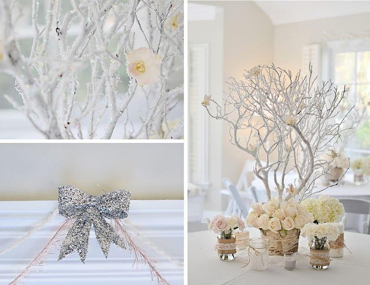 Icy branch centerpiece and floral decorations on winter wonderland birthday table