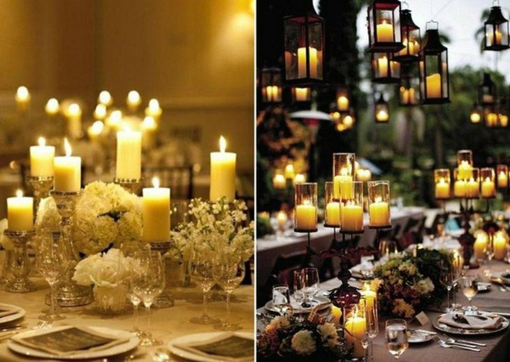 Illuminating garden party table with candle centerpieces