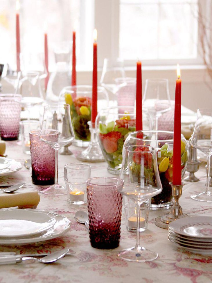 Inspirational party table setting with fresh bloom terrariums and amethyst bubble tumblers