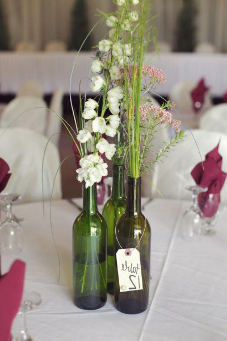 Interesting Wine Bottle Bridal Shower Centerpiece