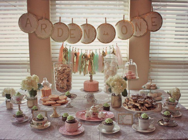Ist birthday tea party themed table decor