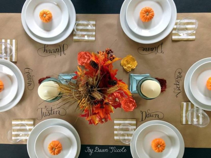 Kraft Paper Table Runner for Thanksgiving