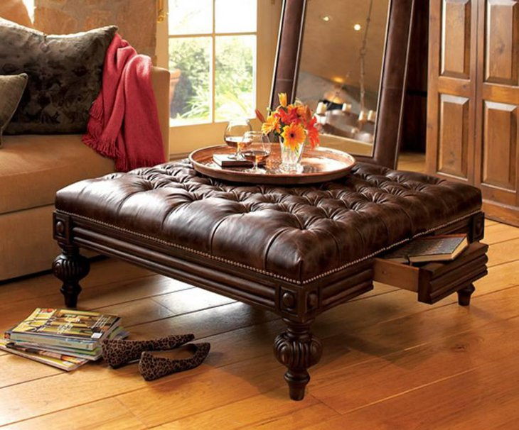 Leather Coffee Table Ottoman Style