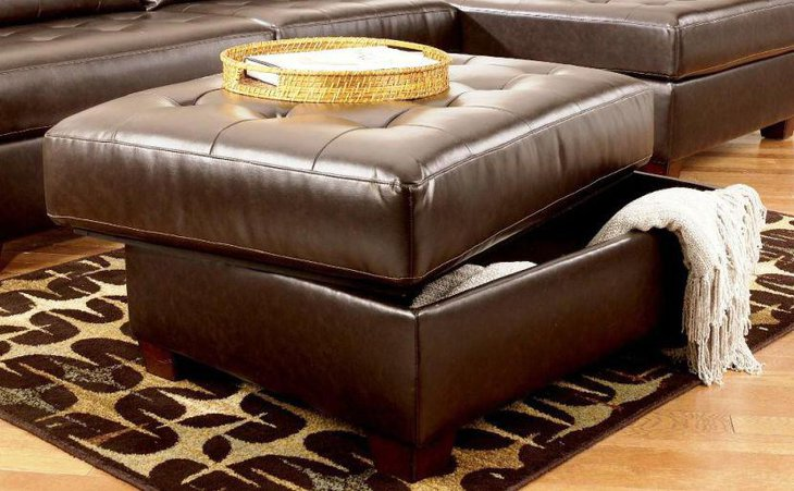 Leather ottoman coffee table with space for storage