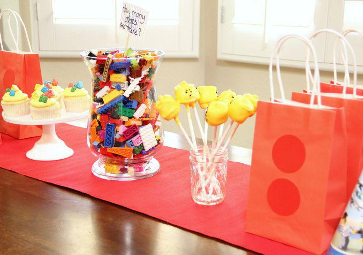 Lego birthday party table decorations