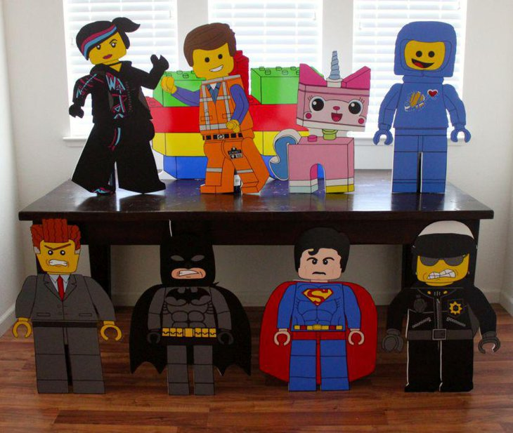 Lego characters as party table decorations