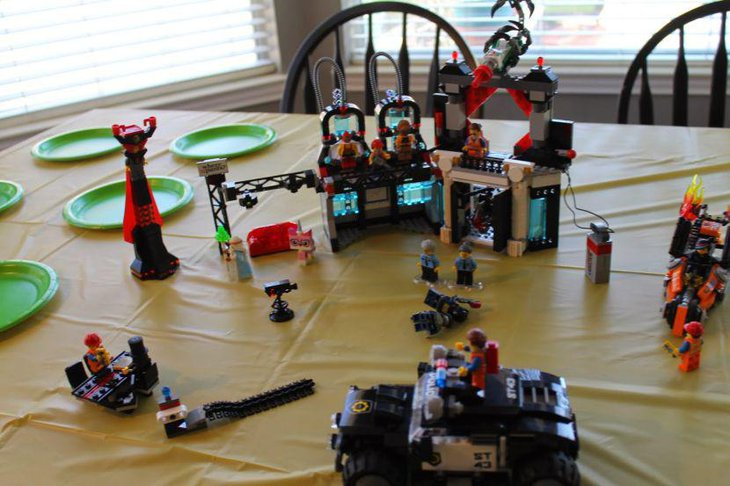 Lego toys and machines as birthday table centerpieces