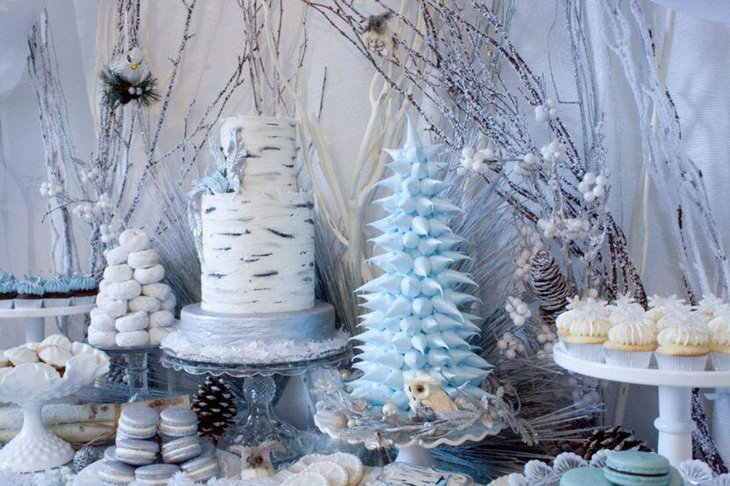 Light blue and white accented winter wonderland dessert table