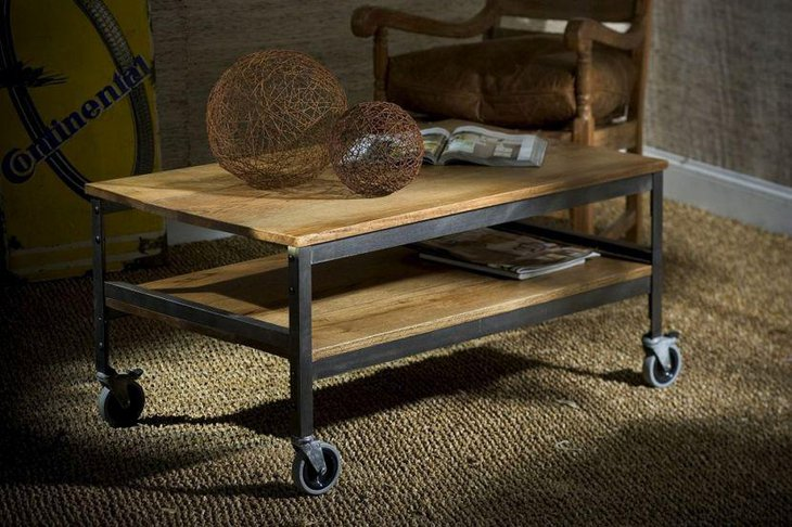 Light wooden rustic coffee table with wheels