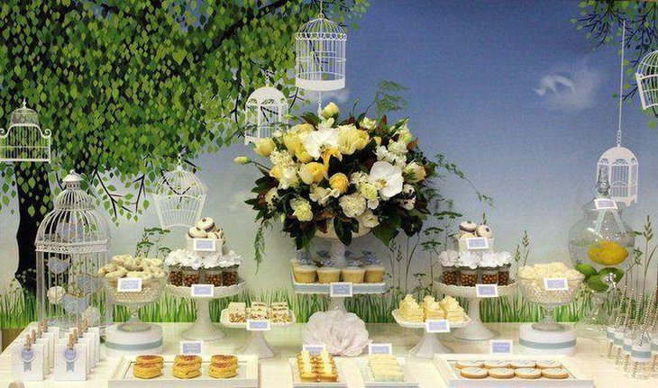 Little birdie garden party table decor with cute cages