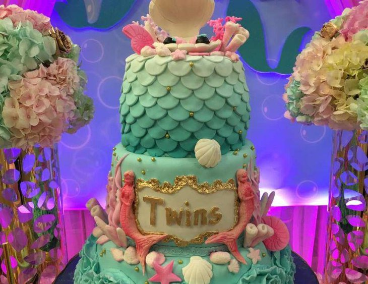 Little mermaid theme for a twin baby shower table