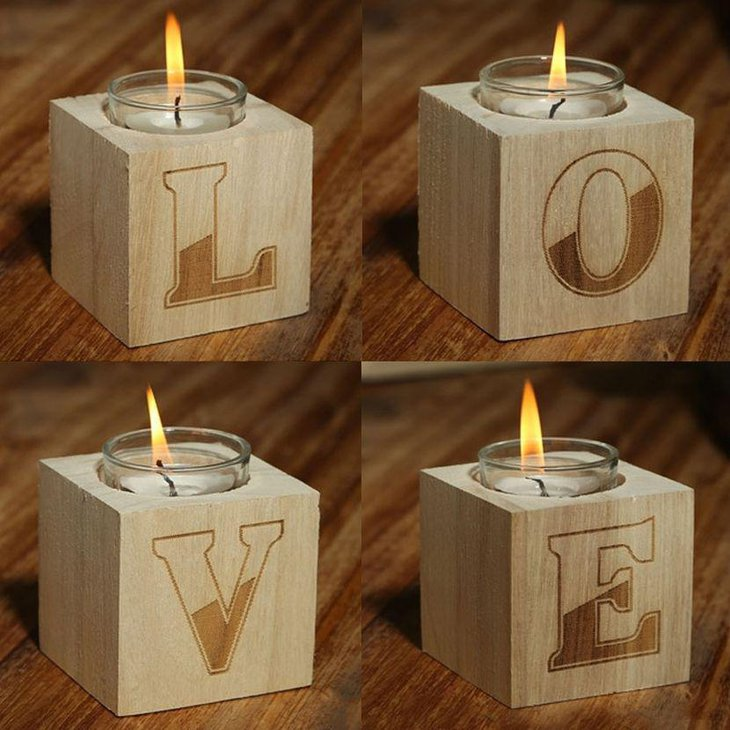 Love tea light candle holder centerpieces