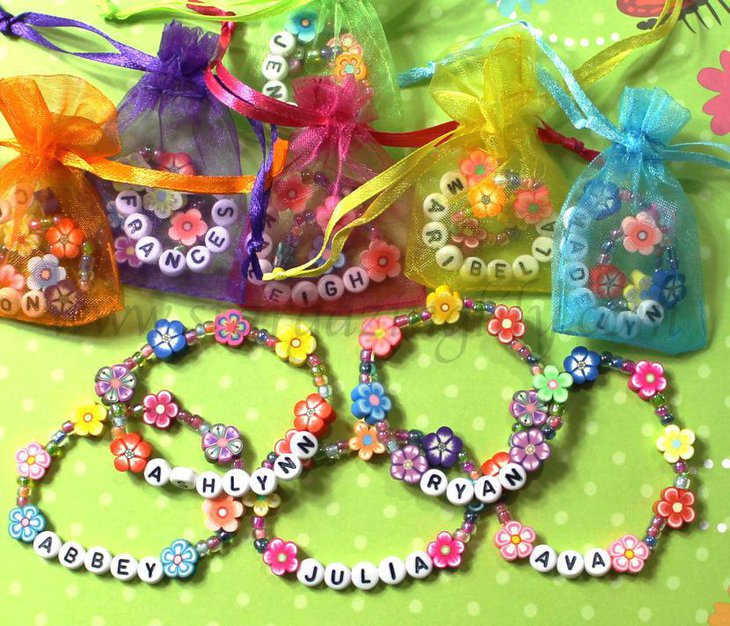 Lovely bracelets as party favors for summer garden party