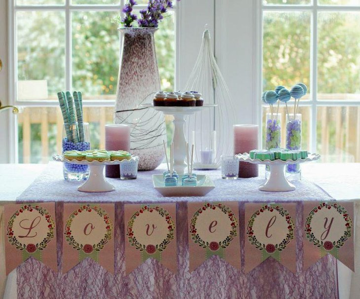 Lovely DIY spa party table setting in Lavender