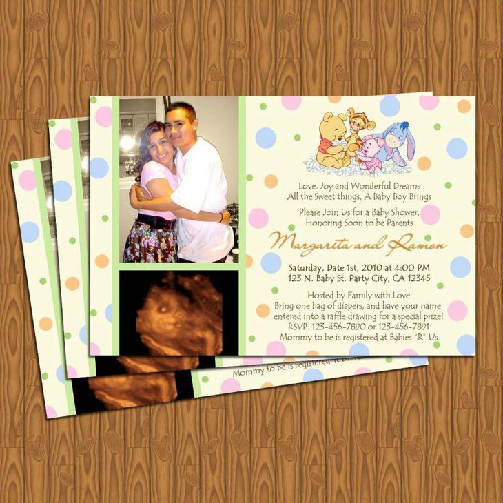 Lovely DIY Winnie The Pooh baby shower invites