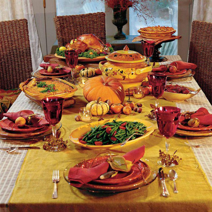 Lovely fall theme Thanksgiving table runner in yellow color