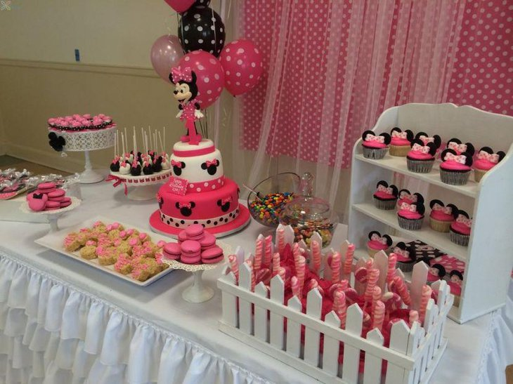 Lovely Minnie Mouse candy table decor
