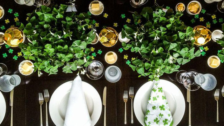 Lovely St Patricks Day table setup with leaves decoration