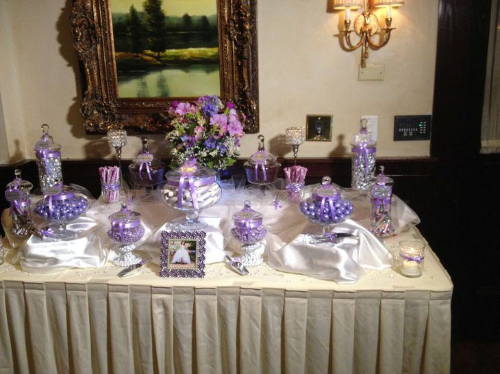 35 purple and white wedding candy buffet ideas table decorating ideas