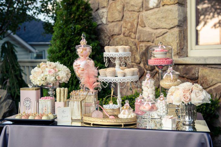 Lush French floral themed dessert table