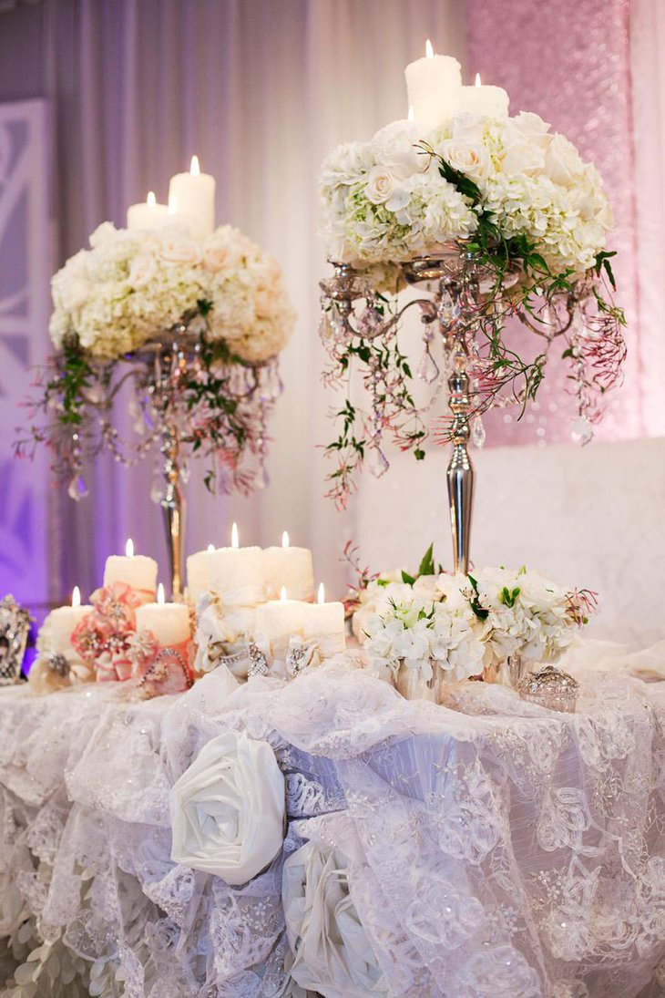 Luxurious White Flower and Candle Wedding Centerpiece