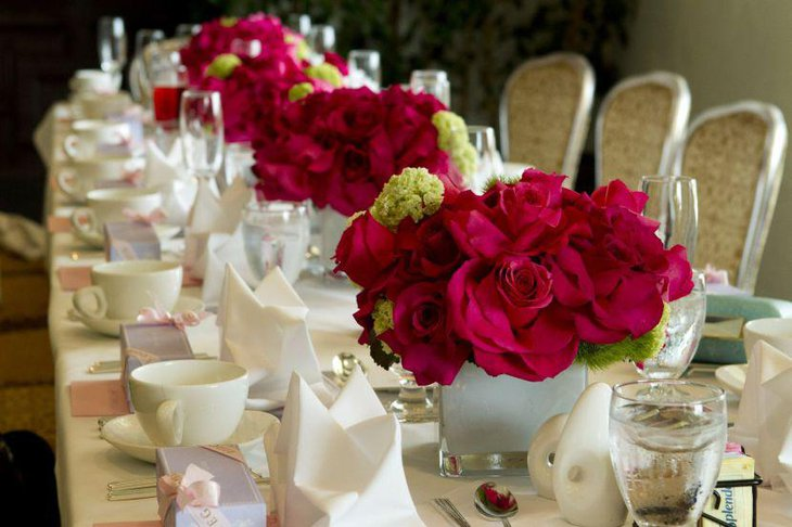 Luxury red floral centerpieces on Valentines table