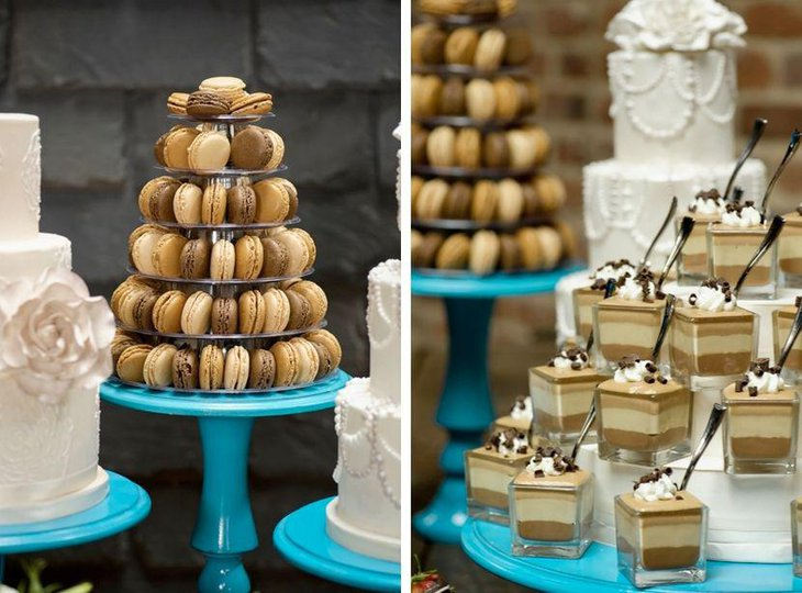 Macaron and cake display on European styled dessert table