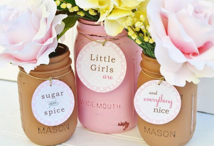 Mason Jar Centerpieces For Baby Shower With Flowers And Cards
