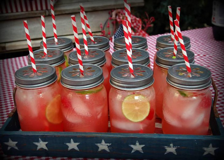 Mason jar drinking jars with cherry lemonade