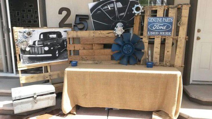 Mechanic themed adult birthday party table