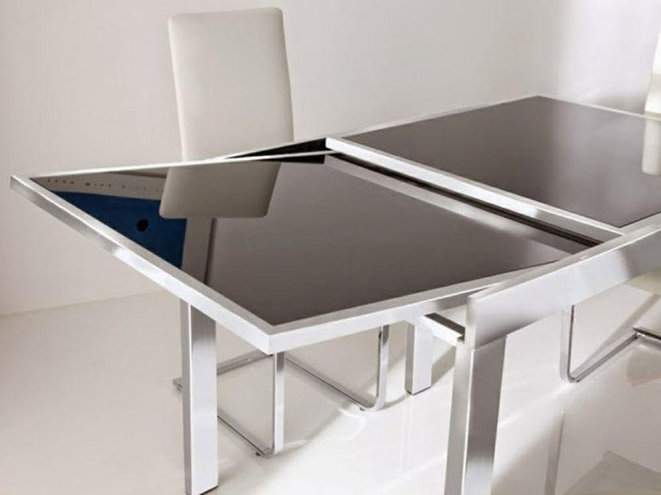 Metal Glass Extendable Dining Table For Small Spaces