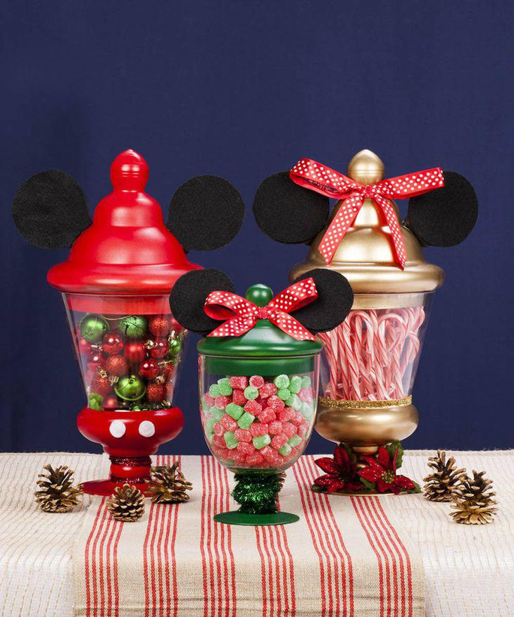 Minnie and Mickey Mouse jar centerpieces on candy table