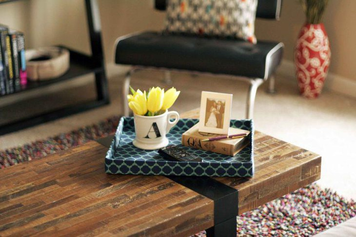 Modern coffee table decor with DIY cardboard tray and flowers