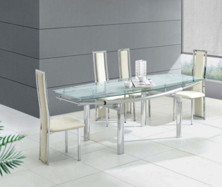 Modern Glass Dining Room Transparent Table