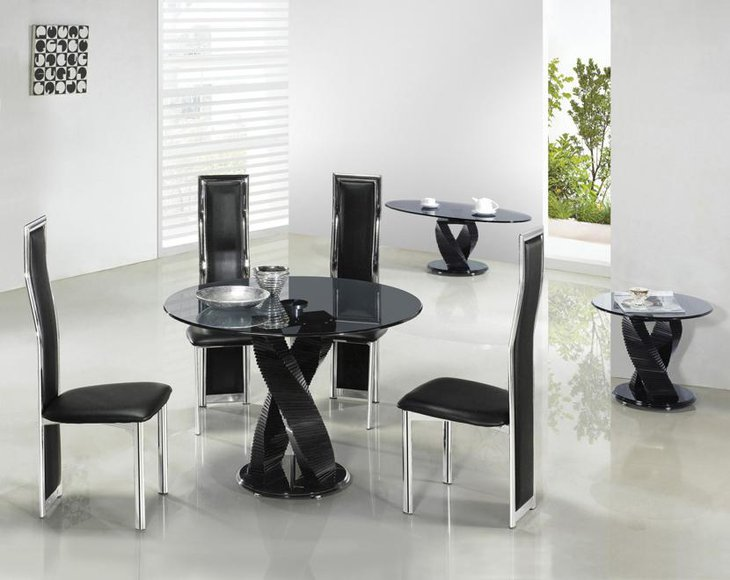Modern Glass Round Dining Table Set
