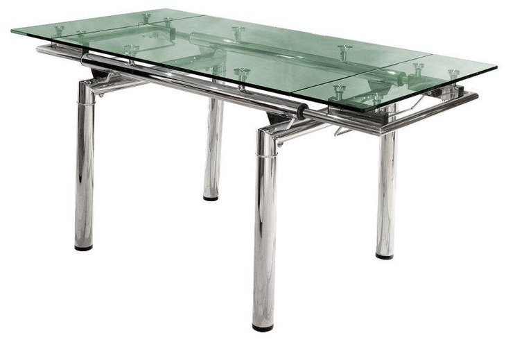 Modern Glass Top Extendable Dining Table With Stainless Steel Base
