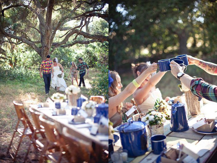 Modern Outdoor Rustic Wedding Table Setting With Blue Tin Dinnerware
