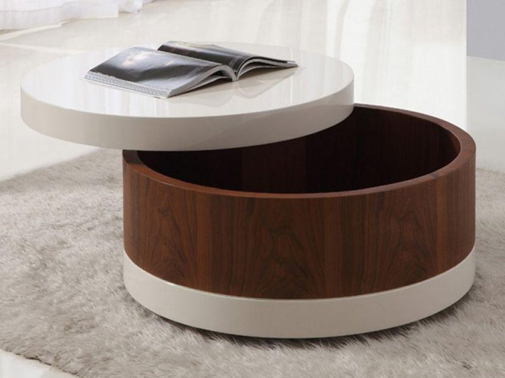 Modern round coffee table with storage space