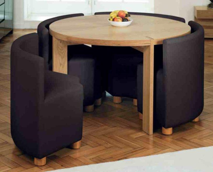 Modern Round Expandable Dining Table For Small Dining Space