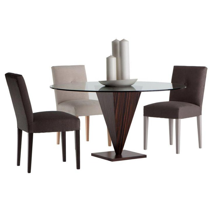 Modern Round Glass Top Dining Table With Wooden Base