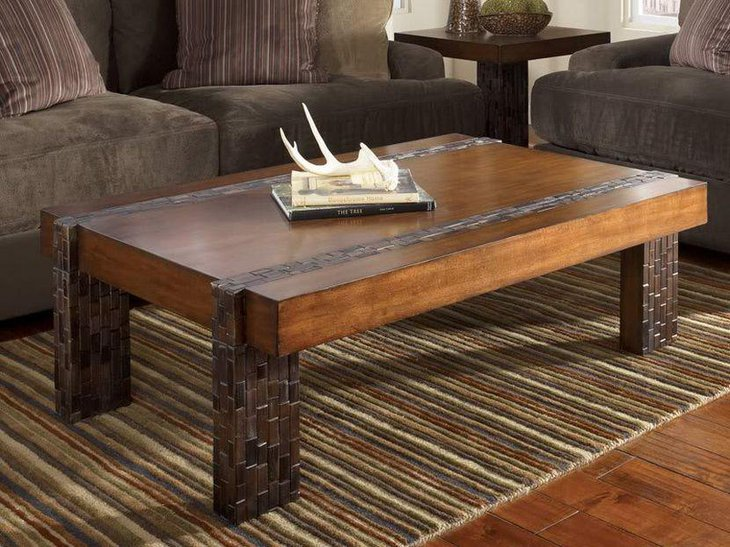 Modern rustic coffee table in rectangle