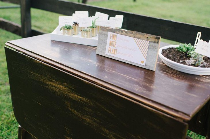 Modern Rustic Succulent Escort Wedding Table Setting