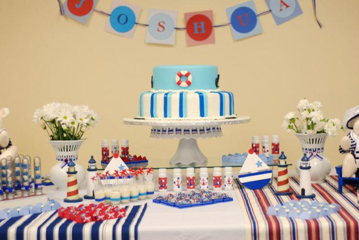 Nautical birthday table decor for boys