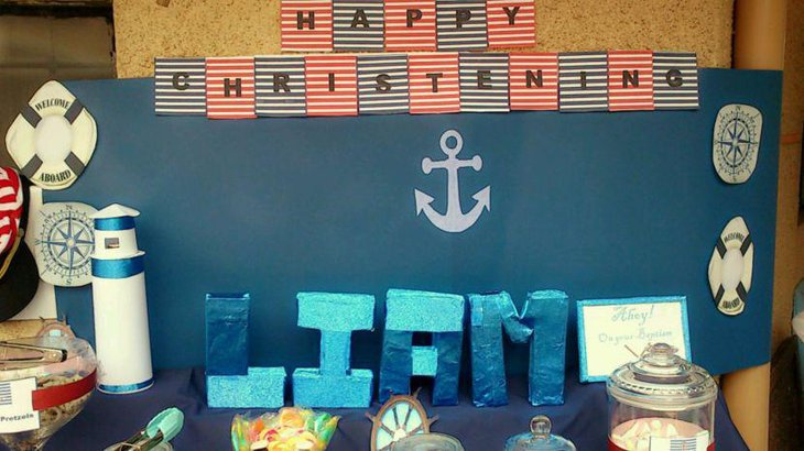 Nautical themed blue candy table