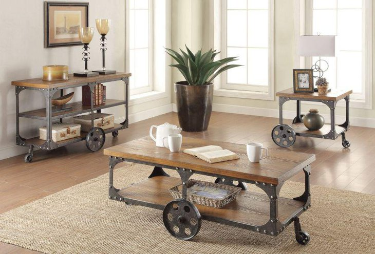 Norland rustic coffee table with wheels
