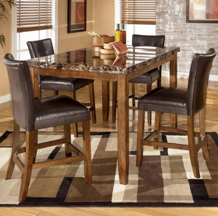 Oakwood dining table set with rectangular shaped granite table top & 39 Elegant Granite Dining Room Table Ideas | Table Decorating Ideas